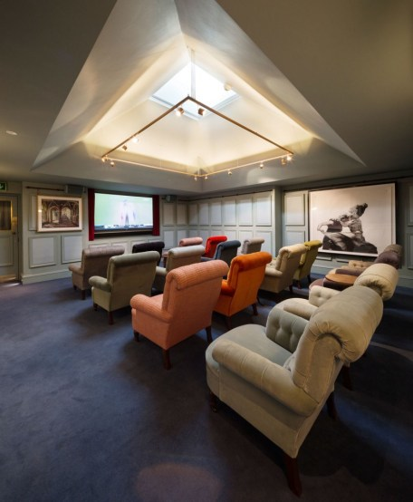 large room with ceiling sky light