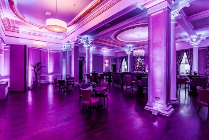 large ballroom with purple lighting