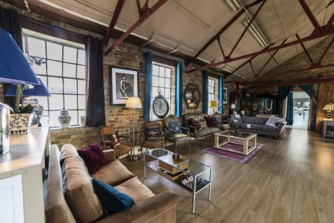 Victorian loft with bare brick walls