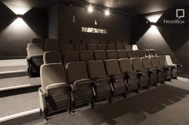 a monochrome cinema with folded up chairs that are all facing the screen.