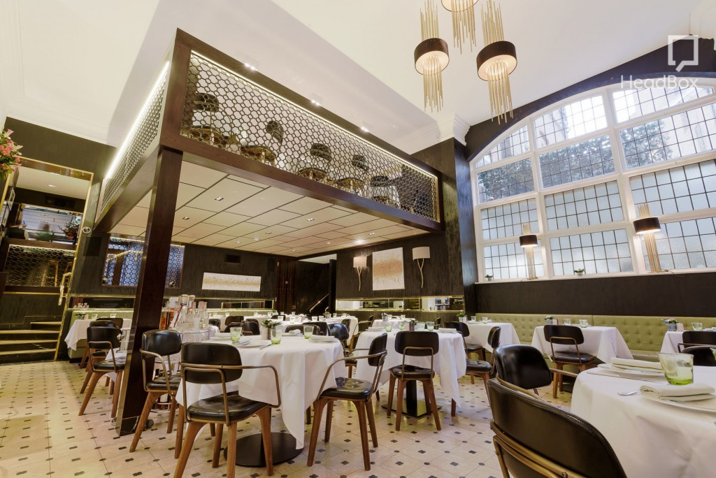 A luxury restaurant in London with high ceilings