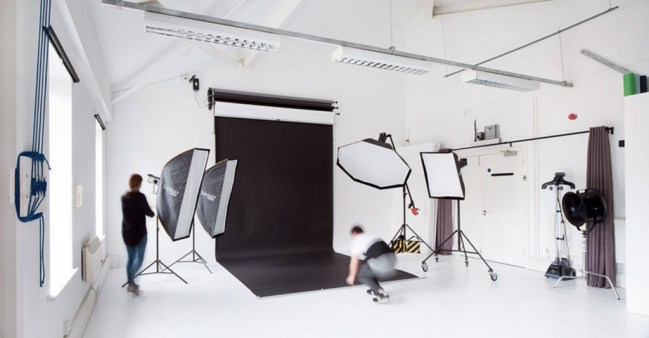 White studio with a black backdrop