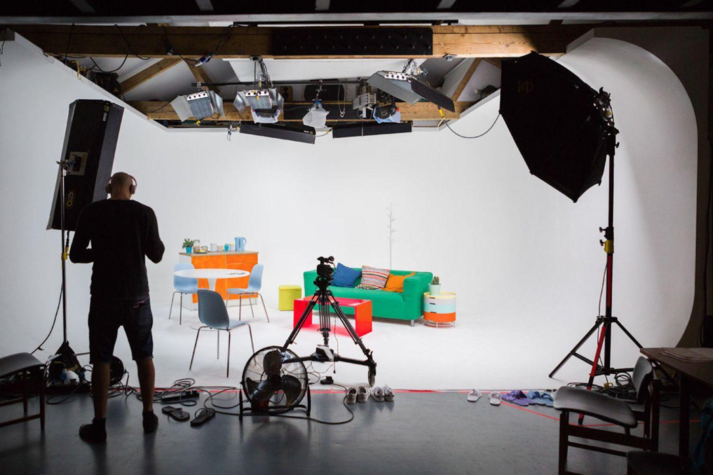 One Hackney Studio with green sofa