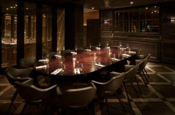dark dining room at aqua nueva