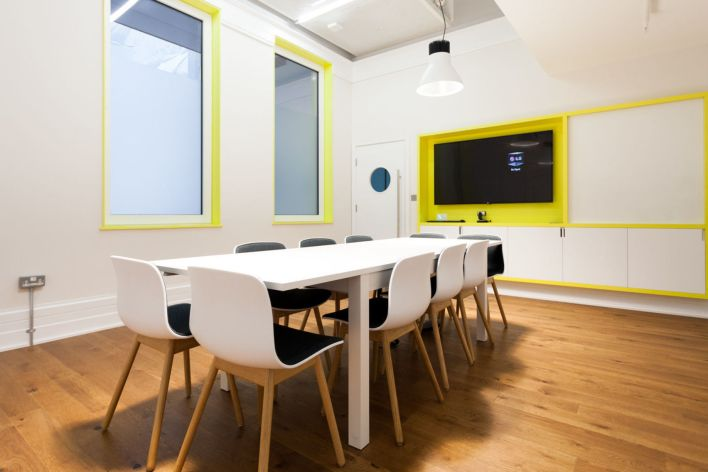 meeting room with white finishings