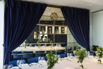 blue curtained chivas room the gherkin