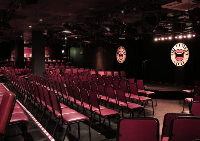 room with the comedy store logo