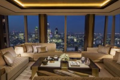 cream sofas at shard's rooftop bar