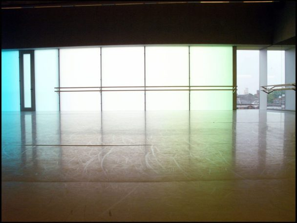 A large studio Space with a transparent back wall. The space has dance bars throughout. Its clean and open and a great option for venue hire London