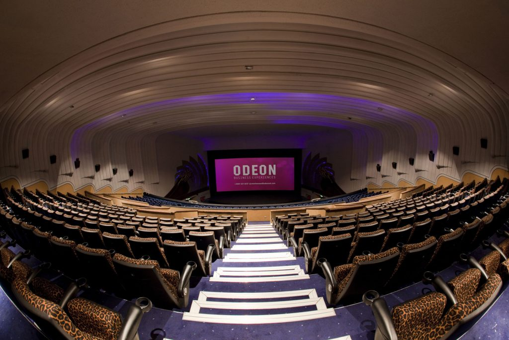 The ODEON Leicester Square in London, a view from the back of the cinema with a view of the seats and screen.