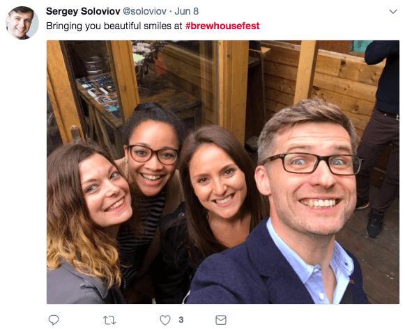 '@soloviov' tweet of four people smiling