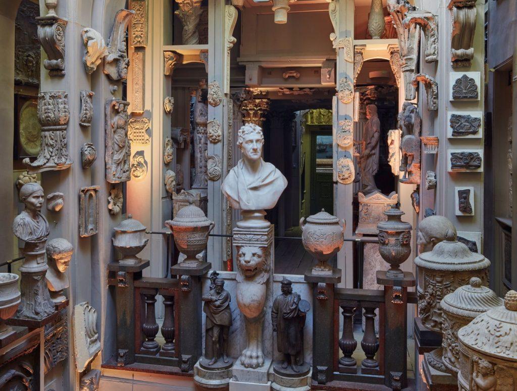 Sir John Soane's Museum, a space full or ceramic statues