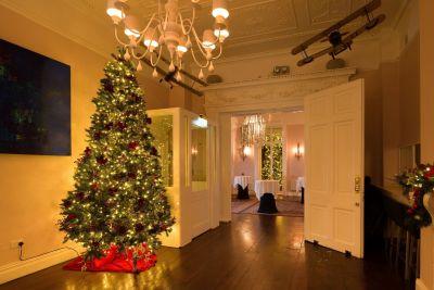 stylish house with large Christmas tree