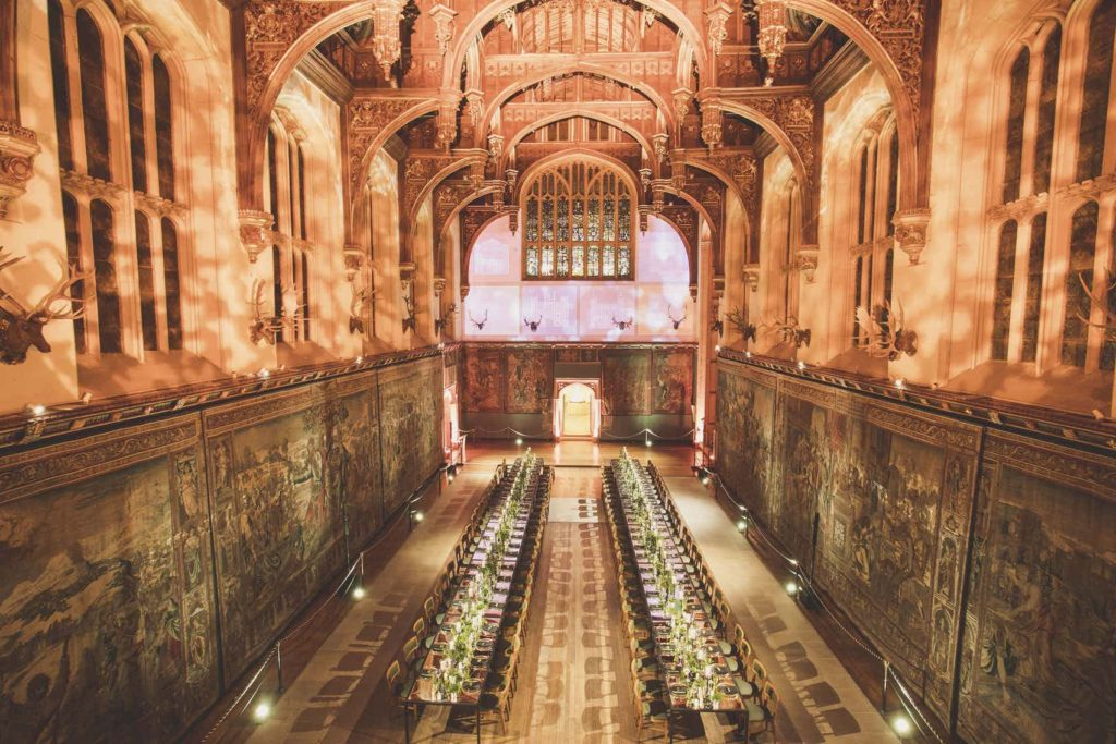 great hall with banquet-style tables