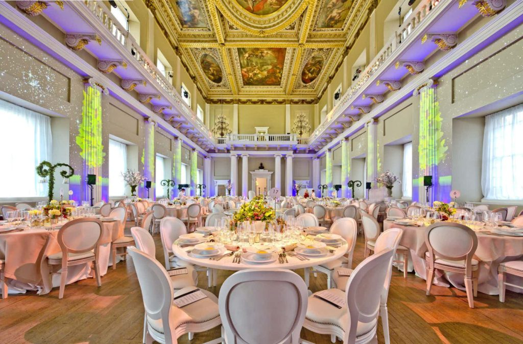 banqueting hall with round tables and floral decorations