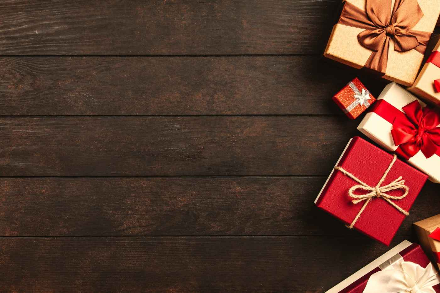 red white and brown gift boxes