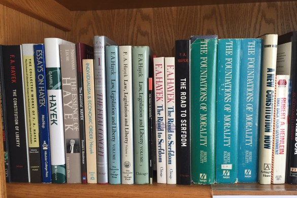 A selection of books in the Libertarian section of the Michael Parry Mazur Memorial Library at The Heartland Institute.