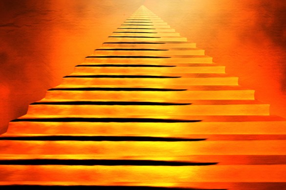 Staircase leading to heaven or hell. Light   End of Tunnel