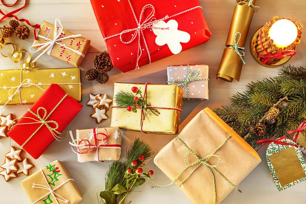holiday gift flatlay