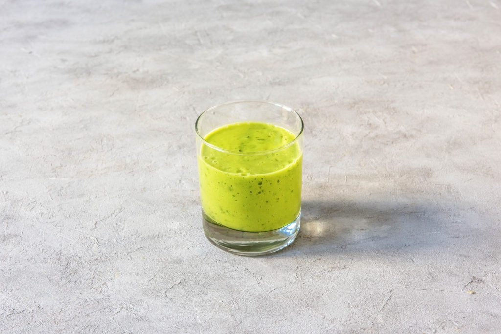 different colored tahini smoothies-green-recipe-HelloFresh