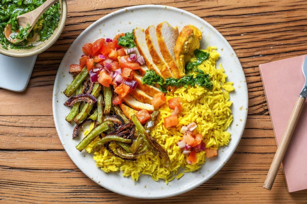 kids like healthy food when its bright and colourful - chimichurri chicken bowl