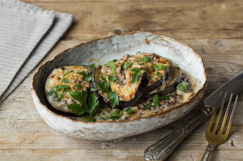 lentil and aubergine stack