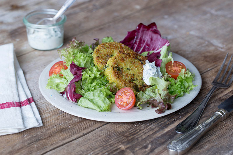 vegetarian quinoa and courgette patties