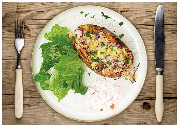 Süßkartoffel mit Thunfisch