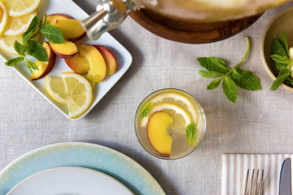 mint-peach-ginger-iced-tea-HelloFresh-Pottery-Barn