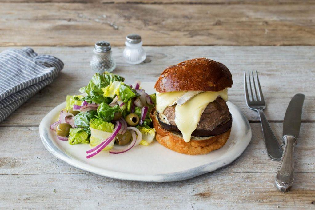 Mushroom & Aubergine Cheese Burger