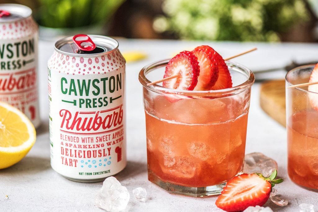 Rhubarb and strawberry cocktail