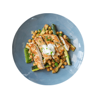 Chicken Shawarma with Dukkah Courgettes and Chickpeas