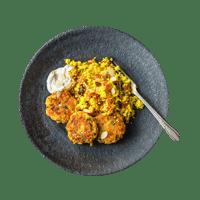 Chickpea Falafel with Saffron Couscous and Harissa Yoghurt