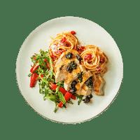 Crispy Skin Chicken with a Black Garlic, Chorizo & Basil Salsa on a Bed of Spaghetti