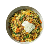 Fragrant Lamb Pilaf with Spinach, Apricots and Minted Yoghurt
