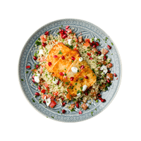Harissa Halloumi with Pomegranate Tabbouleh