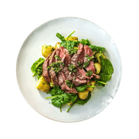 Herby Steak with Potato & Spinach Salad