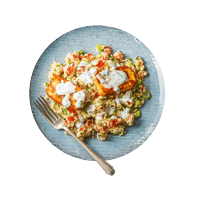 Moroccan Spiced Halloumi with Tabbouleh and Mint Raita