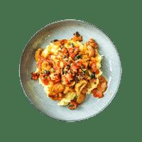 Mushroom Stifado with Potato & Parsnip Mash and Black Olive Salsa