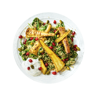 Roasted Curried Parsnips with Cumin Quinoa Pilaf and Pomegranate Seeds