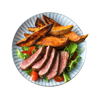 Tagliata with Roasted Garlic and Sweet Potato Chips