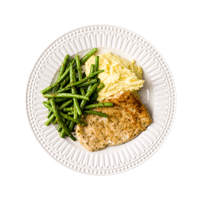 Turkey Milanese with Pesto Greens Beans and Creamy Potatoes
