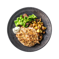 Walnut and Rosemary Crumbed Chicken Breast with Crispy Potatoes and Salad