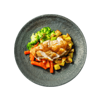 Crispy Roast Chicken with Mini Roasties, Veggies and Gravy