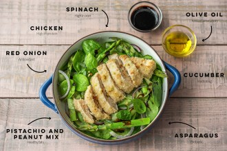 We Unpack the Benefits of Pistachio Crumbed Chicken with Asparagus Salad