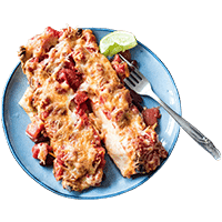 Cheesy Bean Enchiladas with Mixed Salad Leaves