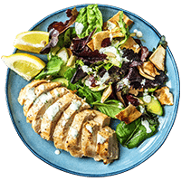Garlic Chicken and Almond Cucumber Fattoush with Dill & Parsley Mayo Sauce