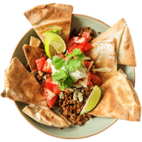 Healthy Mexican Nachos with Sour Cream & Cheddar