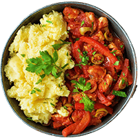Spanish Chicken with Green Olives & Creamy Mash