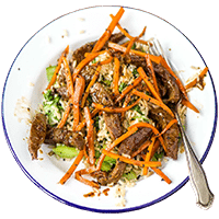 Teriyaki Beef with Black Sesame Seeds & Brown Rice